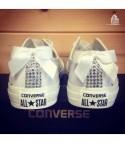 Converse All Star personalizzate - Modello Brillantini e fiocco