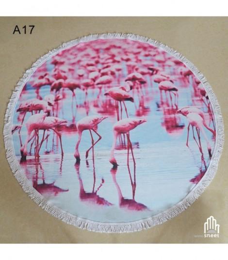 Telo mare round flamingo