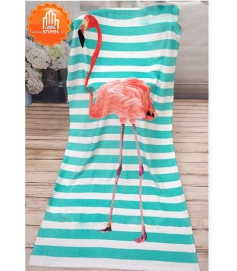 Telo mare stripe flamingo