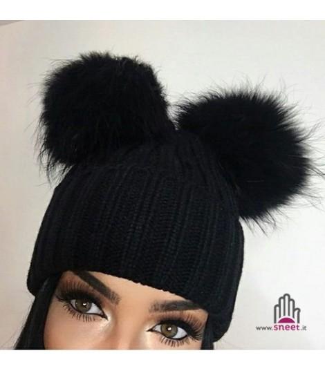 Cappellino double pon-pon adulti