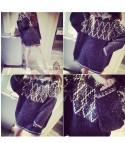 Maxi maglione girocollo Geometrik