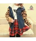 Giacca jeans maniche leopard