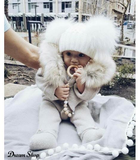 Cappellino double pon-pon baby