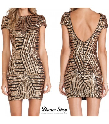 Sequin Stripe Shorts Dress