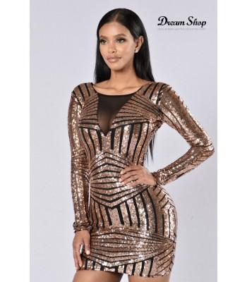 Sequin stripe Vtule Dress