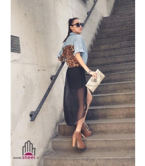 Camicia Leopard-Denim
