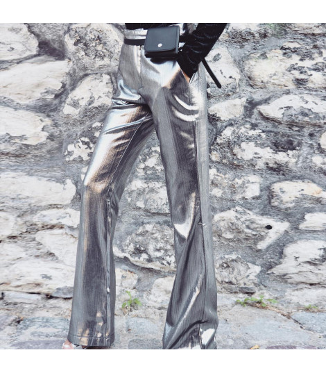 Silver pants flared