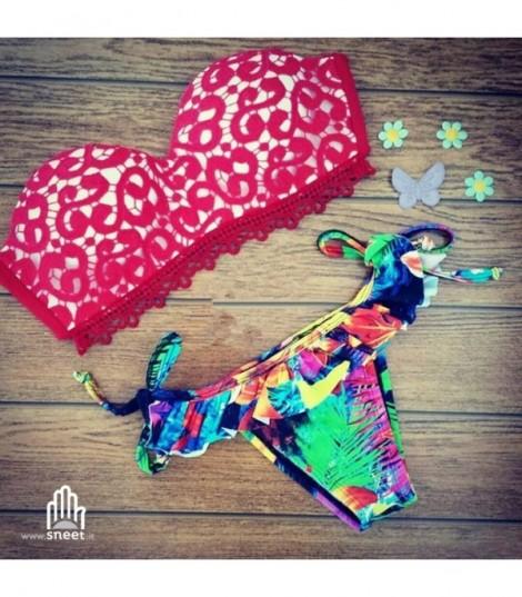 Bikini Balcony Pizzo Grece Rosso