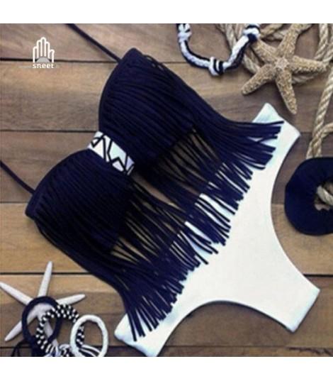 Bikini frange fascia nero bianco