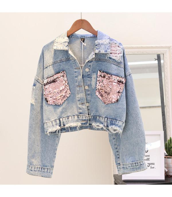 new style f832c 9d23c Giubbino jeans pinksequinn