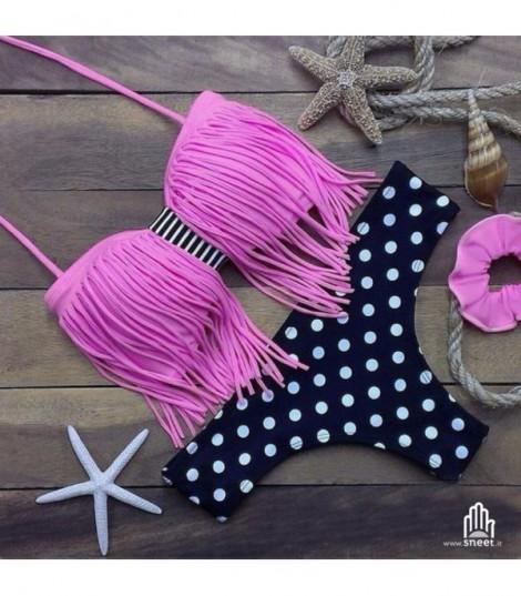 Bikini frange fascia rosa pois