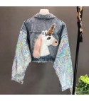 Giubbino denim unicorn