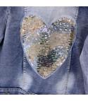 Giacca denim heart sequin