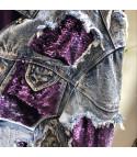 Giacca denim purple sequin