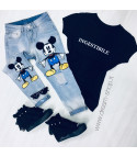 Jeans double Mickey Mouse