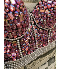 Crop top pink stone pearl