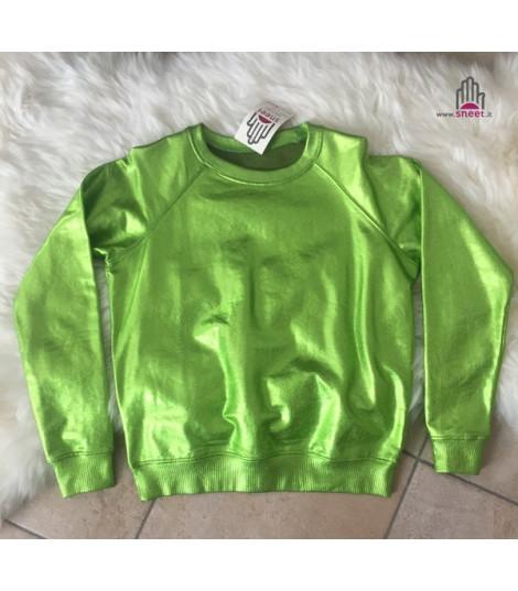 Felpa metallizzata verde