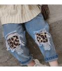 Jeans bimba toppe leopard
