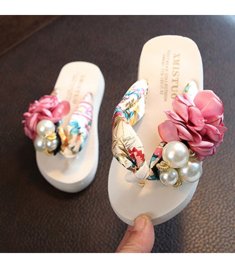 Infradito bambina gioiello perle rose bianco