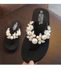 Infradito donna-bimba gioiello perle rose bianco