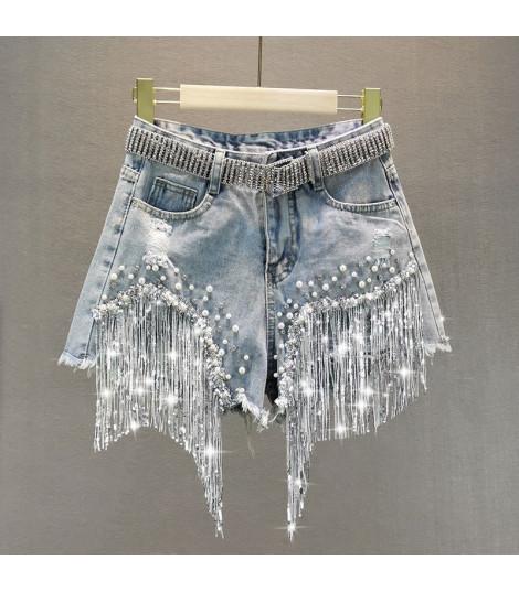 Shorts perle e frange strass